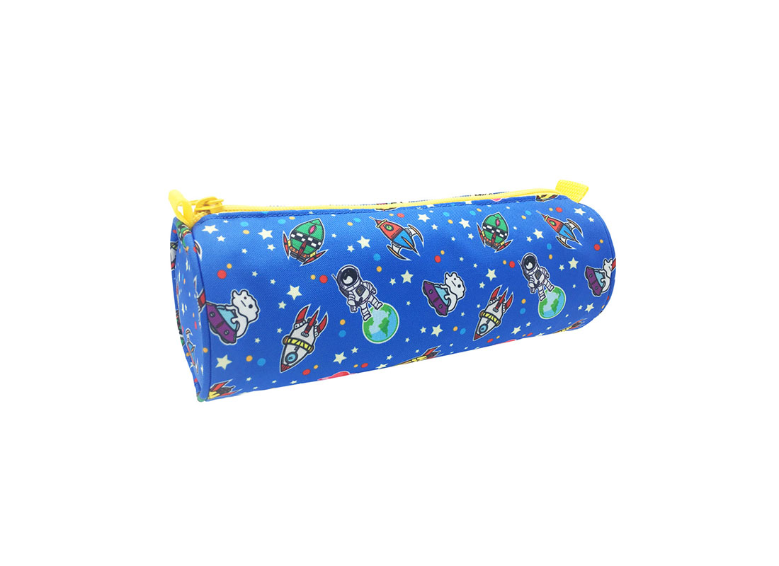 Round Shape pencil case with spaceship print side