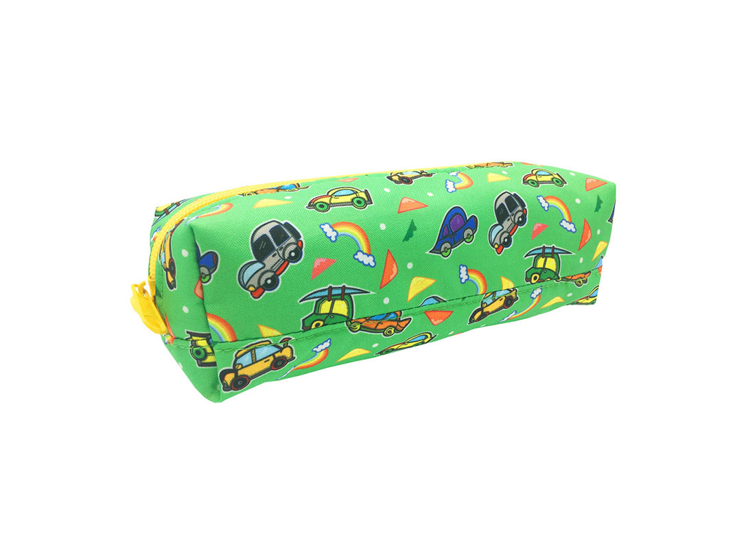 Square shape pencil case with car print side