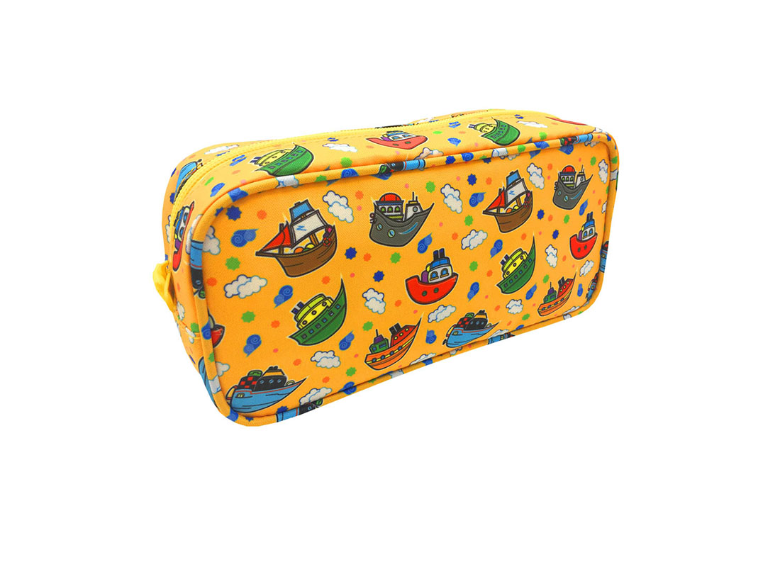 Rectangular shape pencil case with ship print side