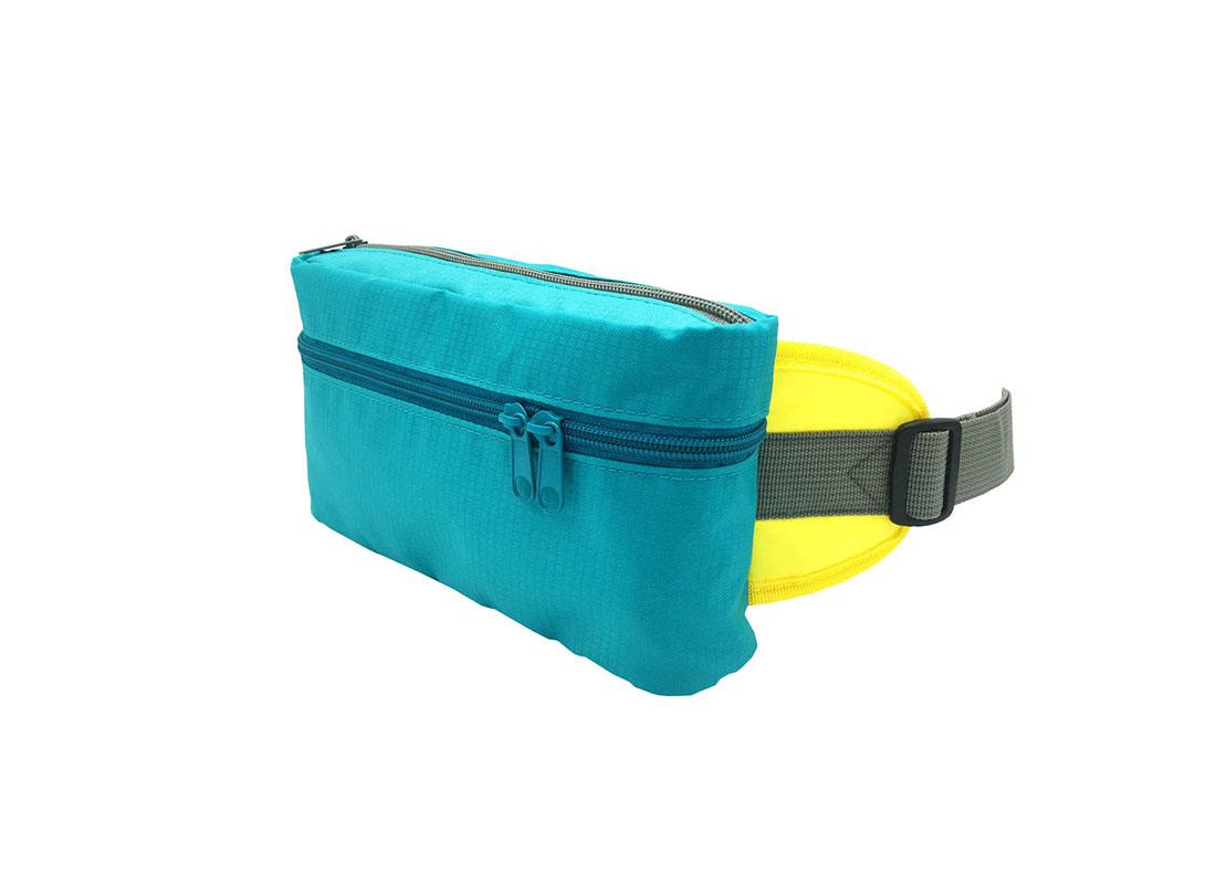 Rectangular shape waist bag in acqua side