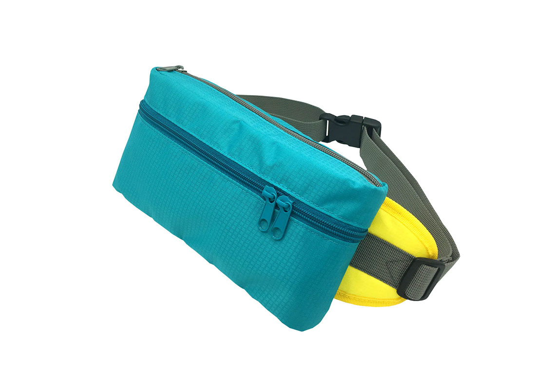 Rectangular shape waist bag in acqua side1