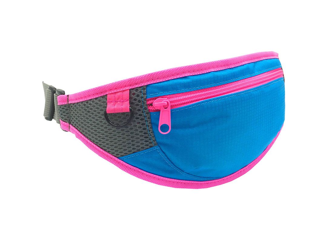 small waist bag in blue side1