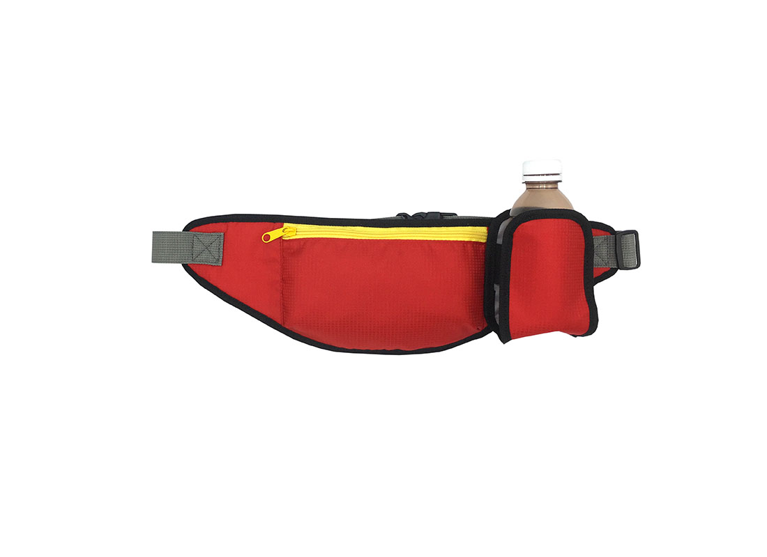 Sporty waist bag with small water bottle holder in red