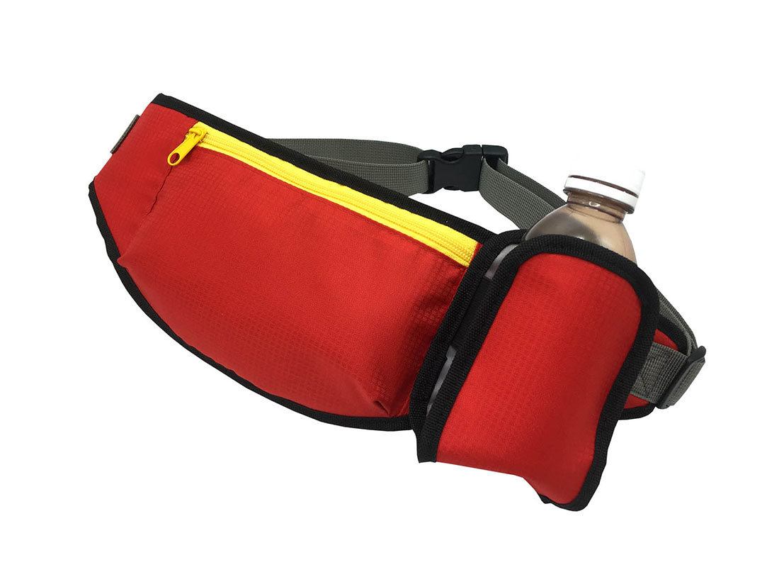 sporty waist bag with small water bottle holder in red side
