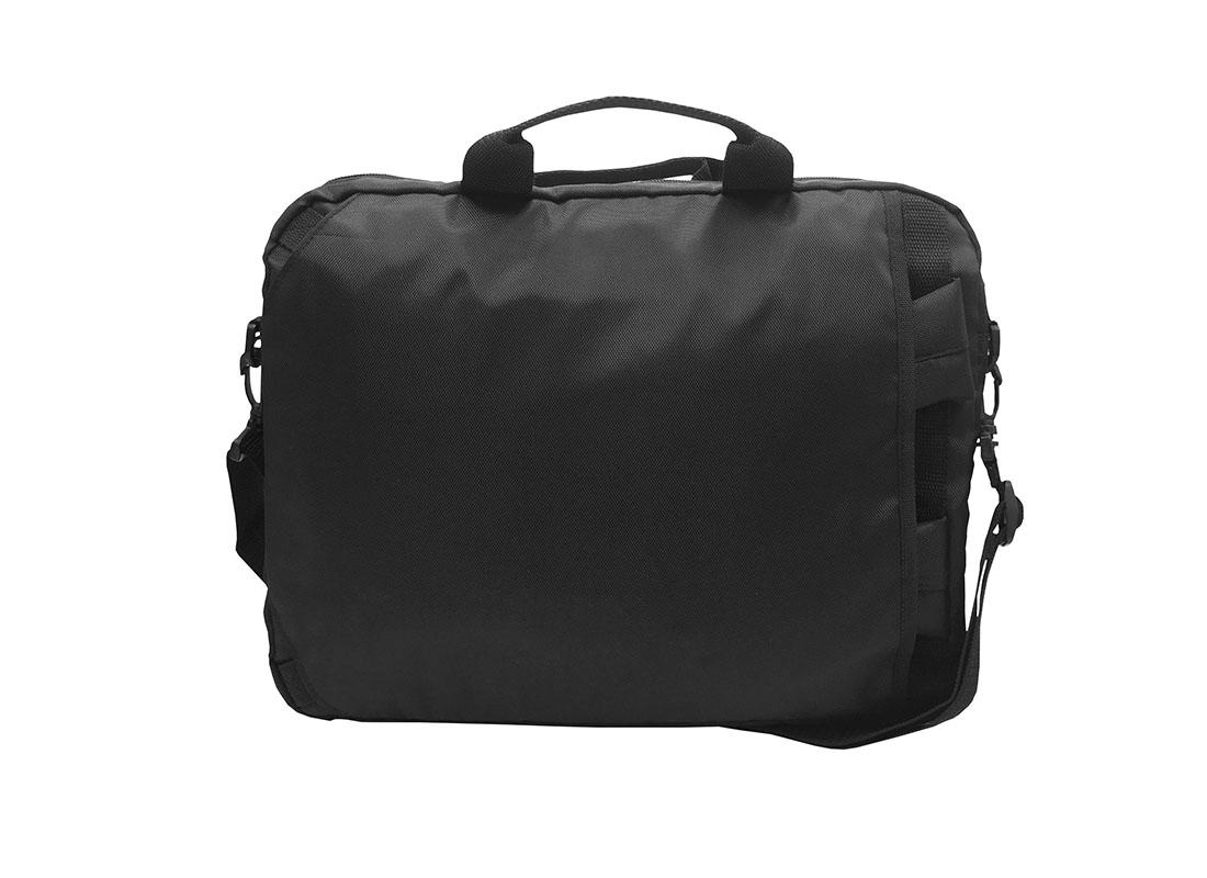 3 way laptop bag in black back