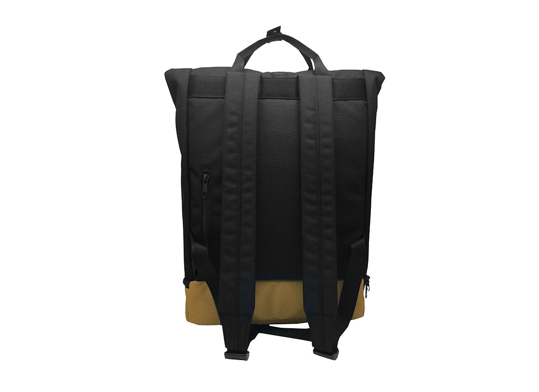 black roll top backpack back