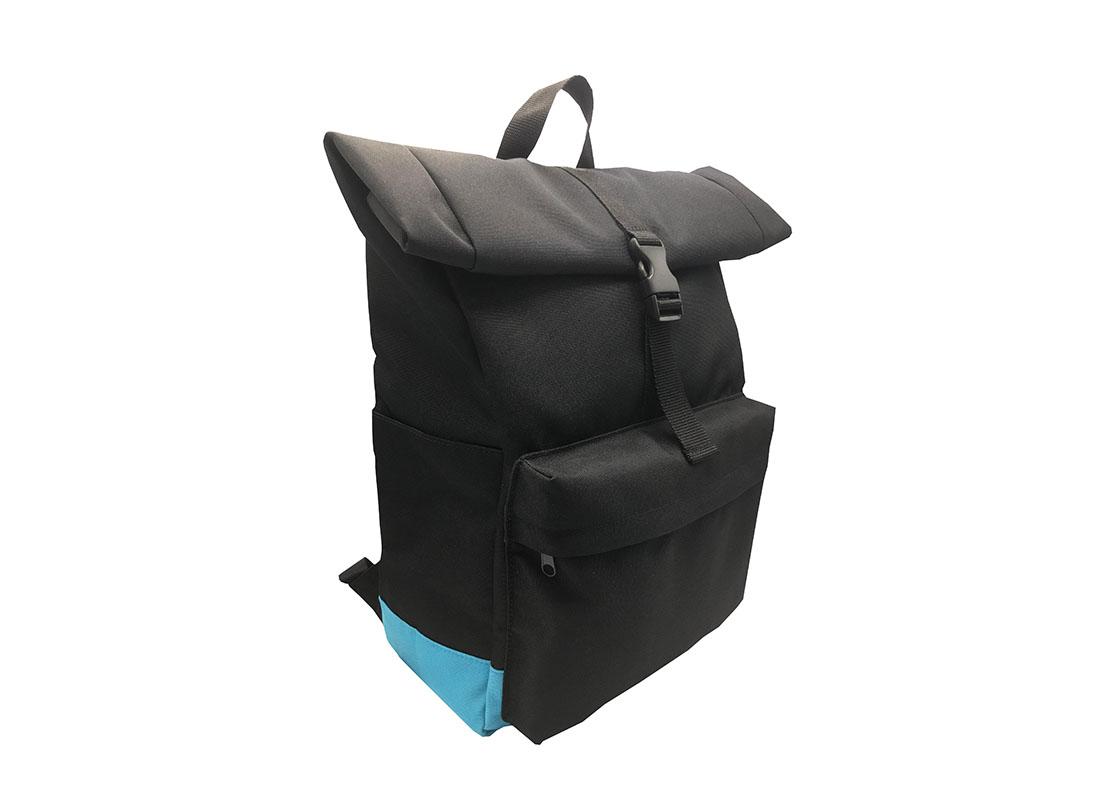Roll top laptop backpack L side