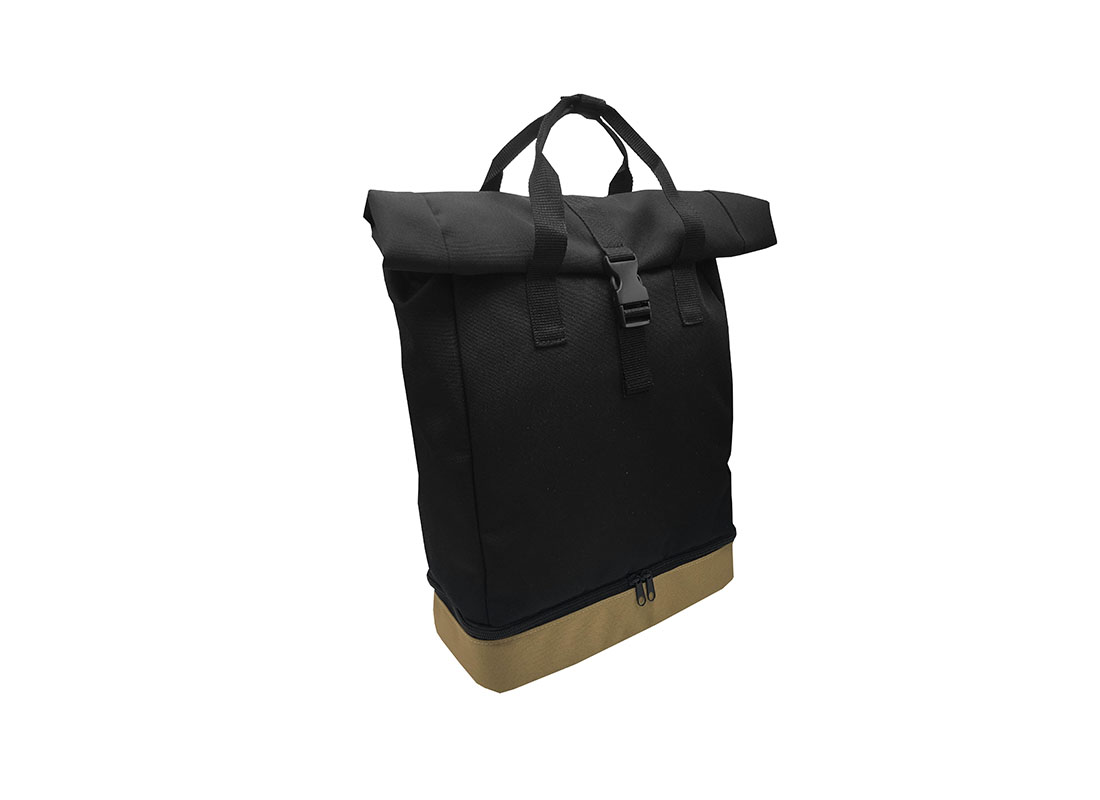 black roll top backpack L side