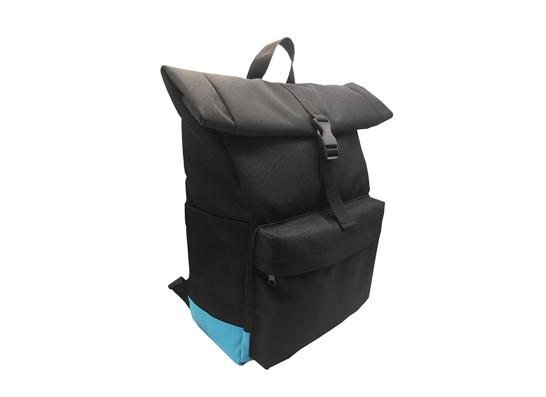 Roll top laptop backpack L side
