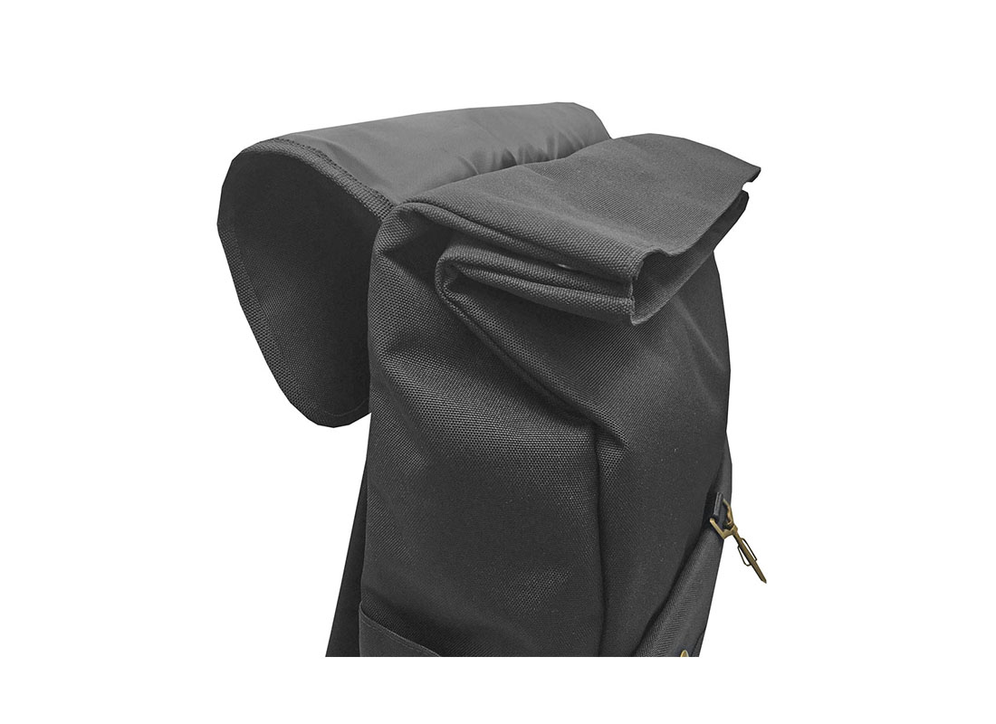 roll top laptop backpack with flap open