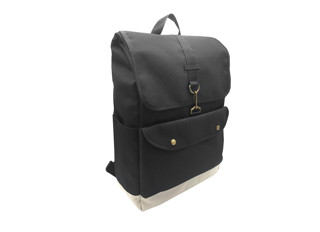 roll top laptop backpack with flap L side