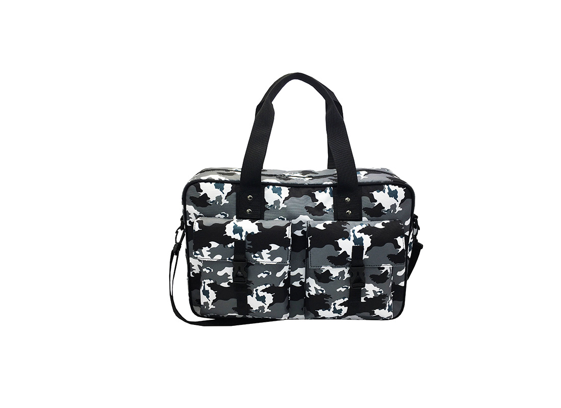 Camo Weekender Bag in Black White Grey front