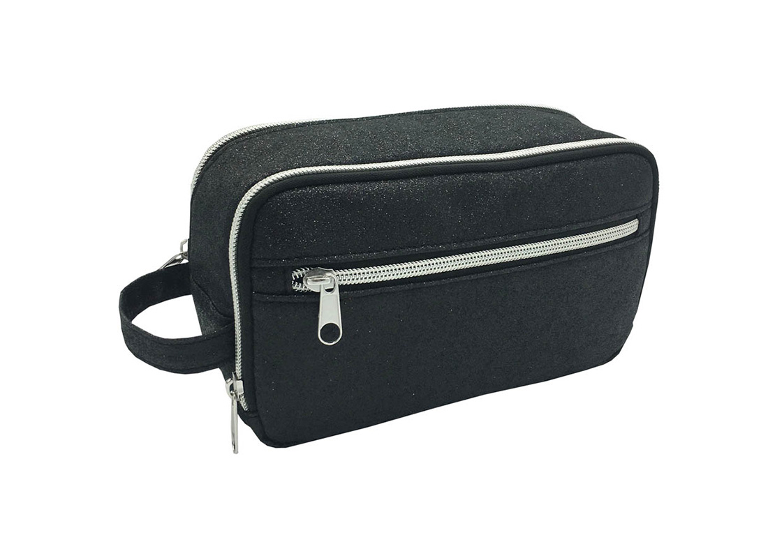 Black Shiny PU Cosmetic bag L side