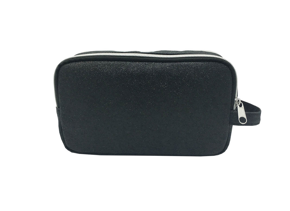 Black Shiny PU Cosmetic bag back