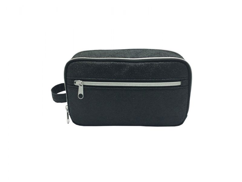 black shiny PU Cosmetic Bag front