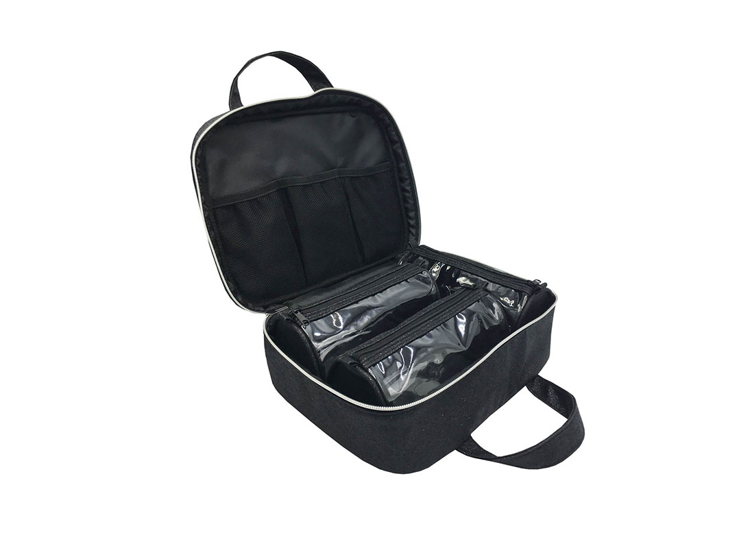 makeup bag pack with 3pcs pvc pouches insides open with pouches