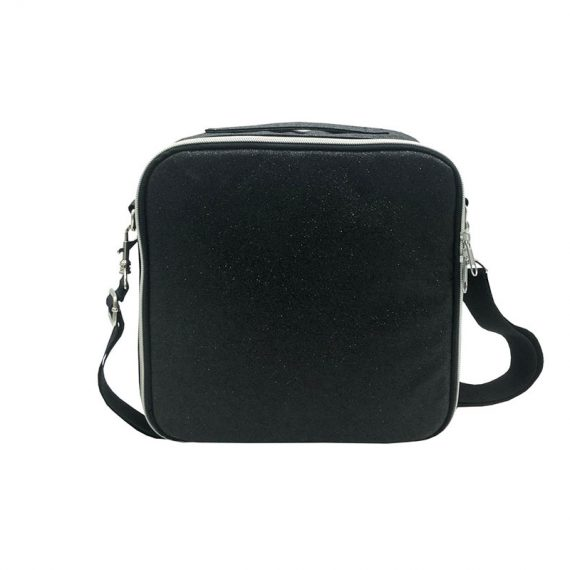 Flexible Interior Cosmetic Bag in Black Shiny PU Front