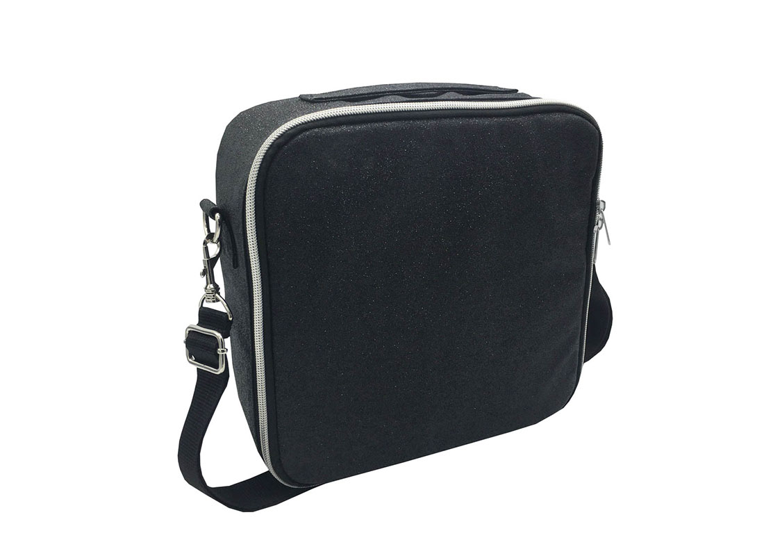 Flexible Interior Cosmetic Bag in Black Shiny PU L side