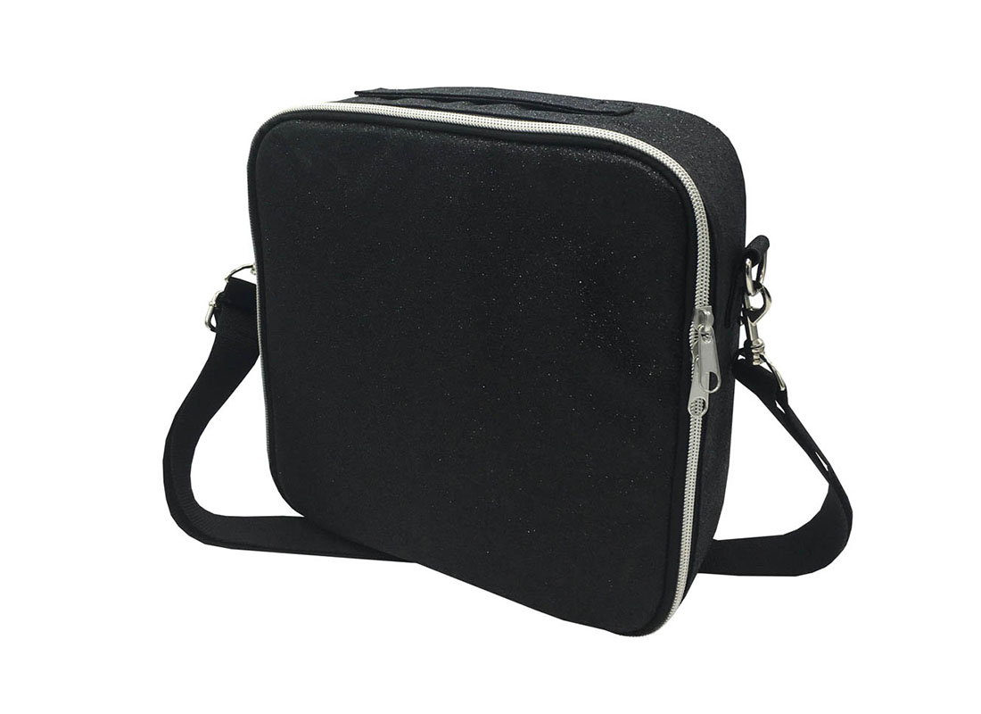 Flexible Interior Cosmetic Bag in Black Shiny PU R side