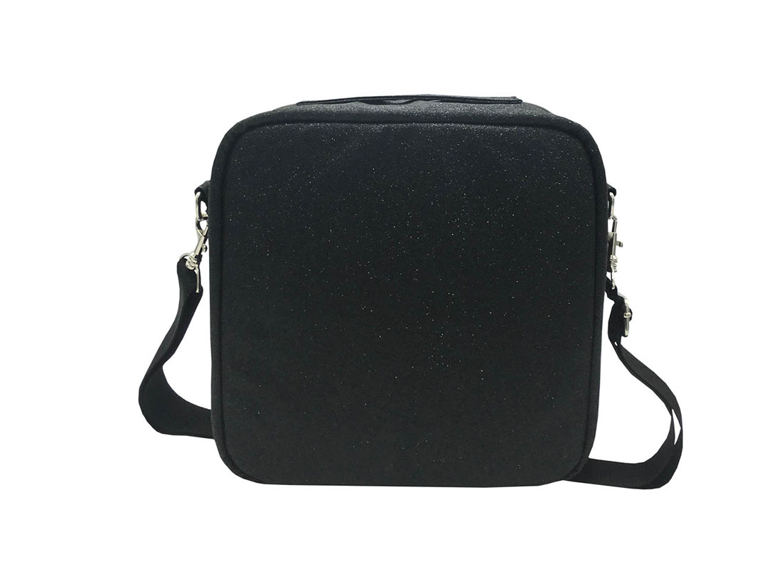Flexible Interior Cosmetic Bag in Black Shiny PU Back