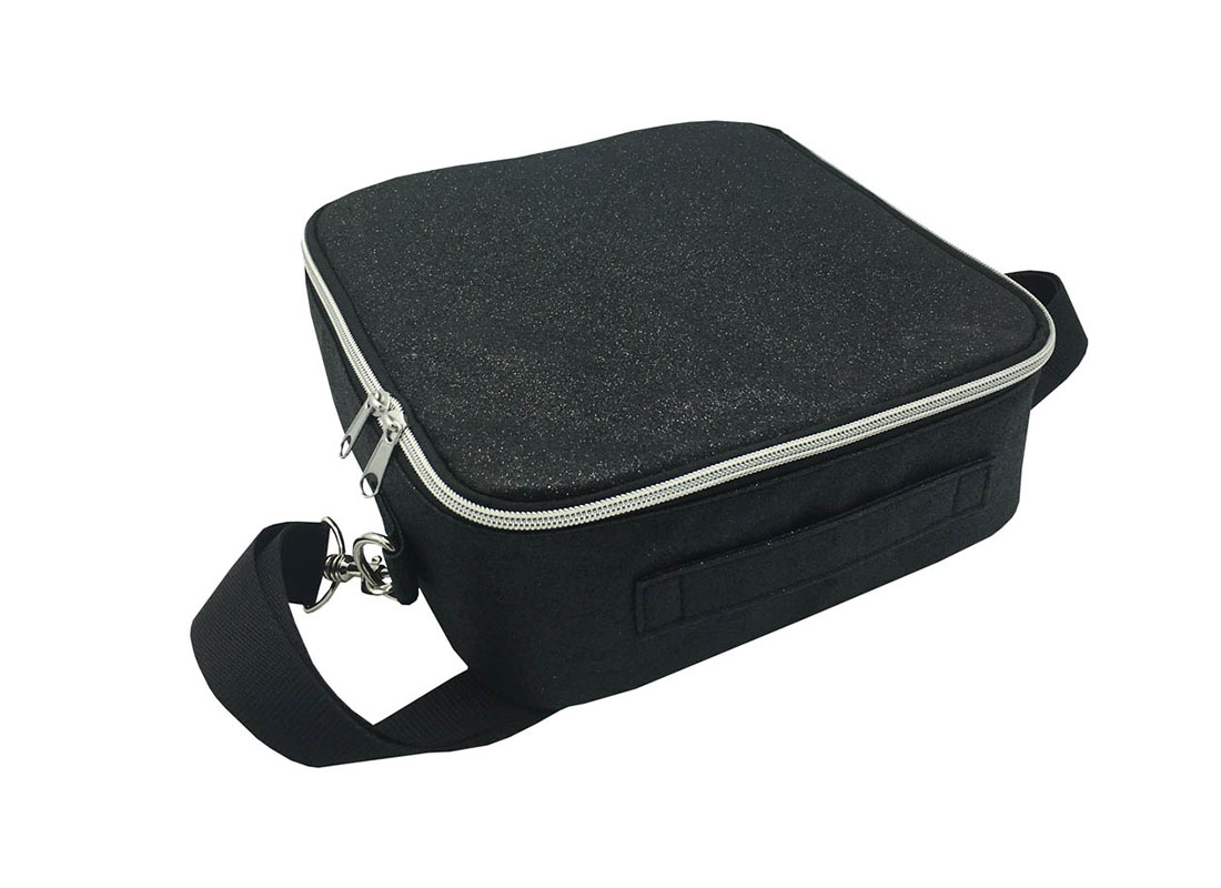 Flexible Interior Cosmetic Bag in Black Shiny PU Front Topview