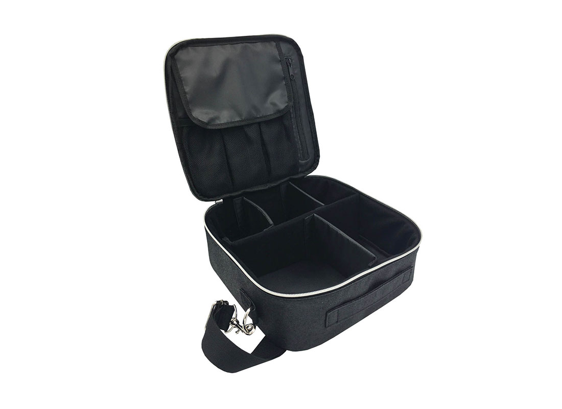 Flexible Interior Cosmetic Bag in Black Shiny PU Open