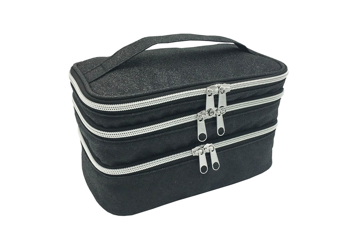 compartment makeup bag in black shiny pu L side