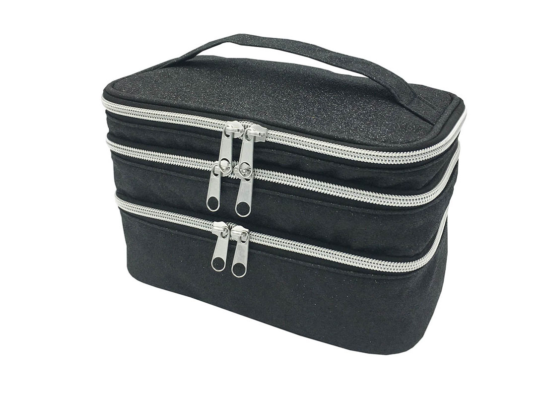 compartment makeup bag in black shiny pu R side