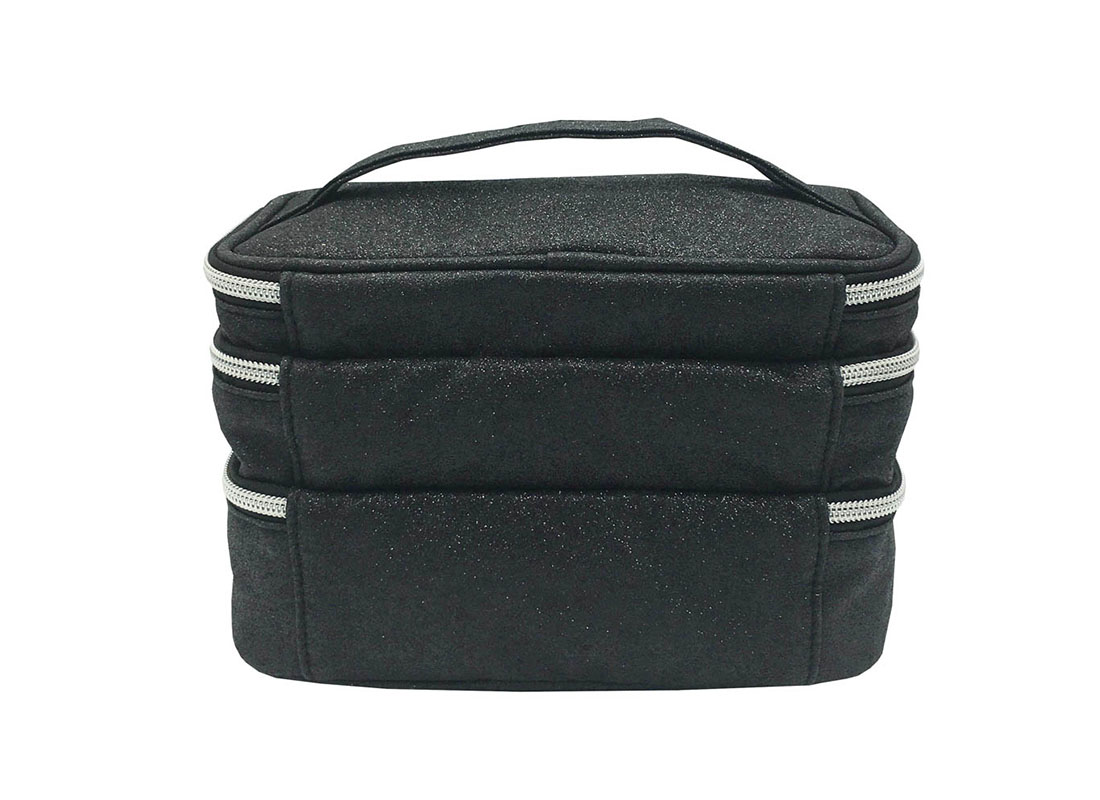 compartment makeup bag in black shiny pu back