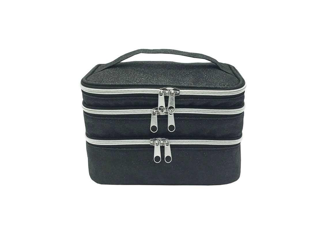 compartment makeup bag in black shiny pu front