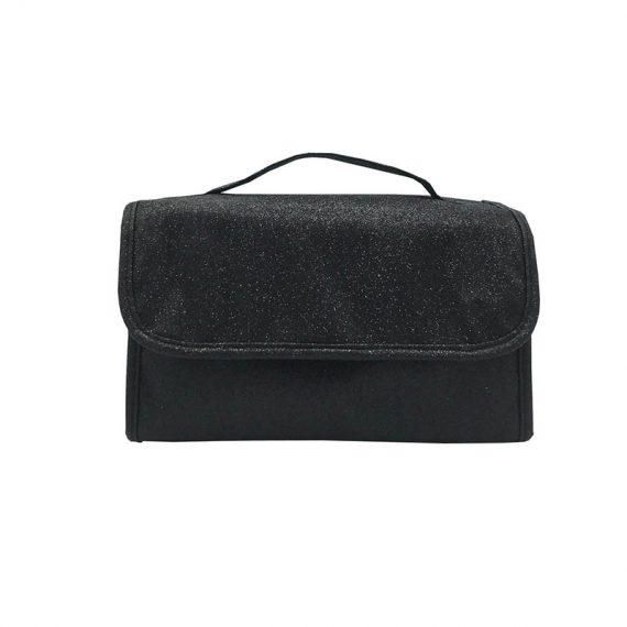 Rollup Makeup Bag in Black Front
