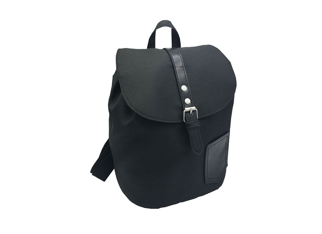 Mini Black Backpack with Soft Material L side