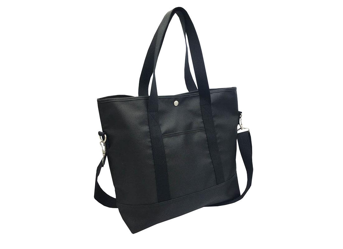 Long Shoulder Strap Tote Bag in Black L side