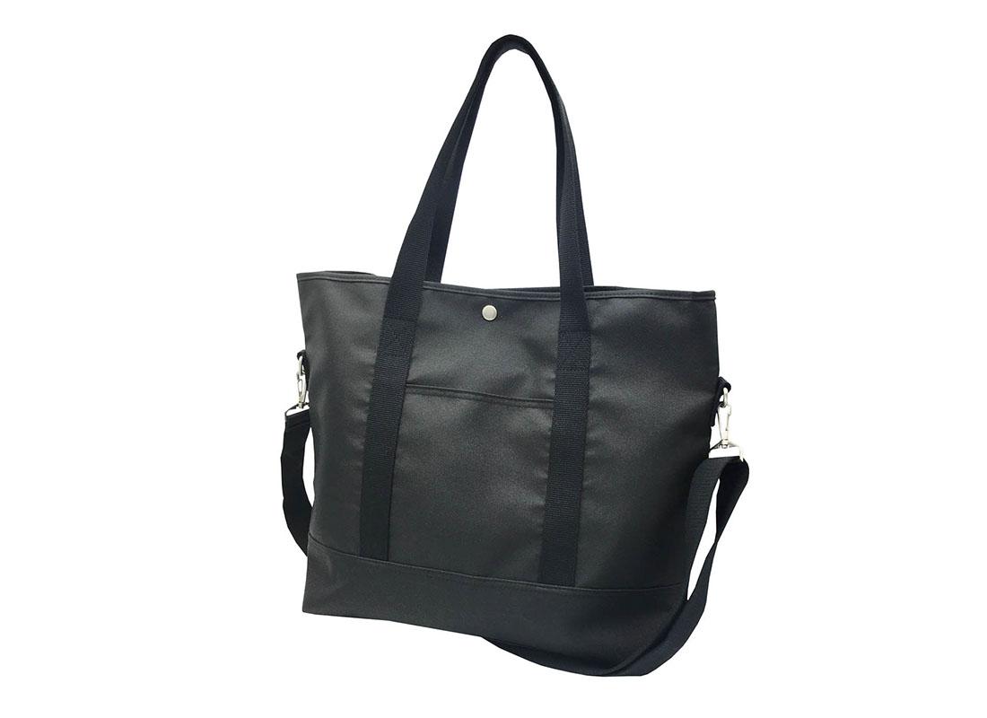 Long Shoulder Strap Tote Bag in Black R side