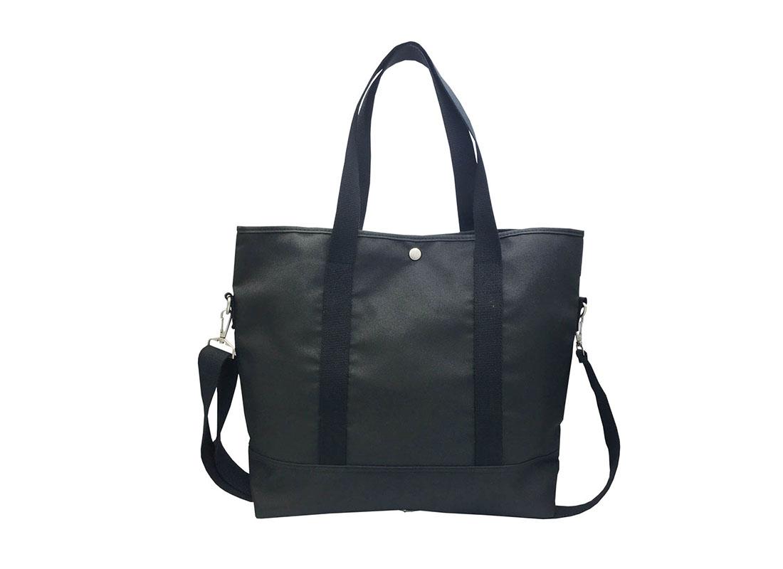 Long Shoulder Strap Tote Bag in Black Back