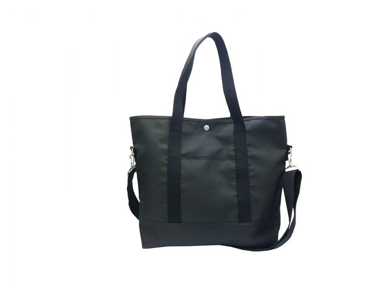 Long Shoulder Strap Tote Bag in Black Front