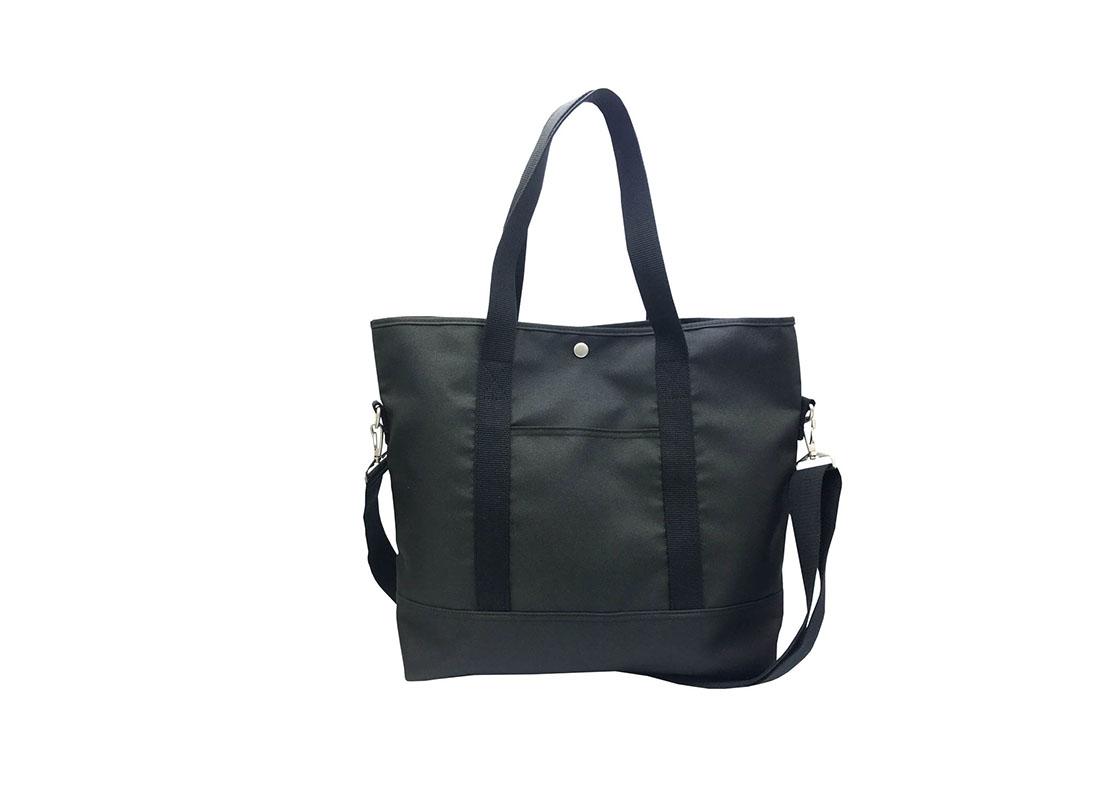 Long Shoulder Strap Tote Bag in Black Front