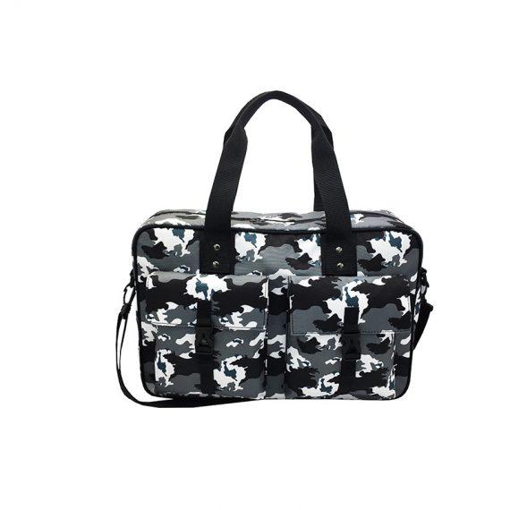 Camo Weekender Bag in Black White Grey front