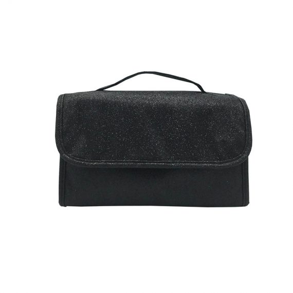 Rollup Makeup Bag in Black Front