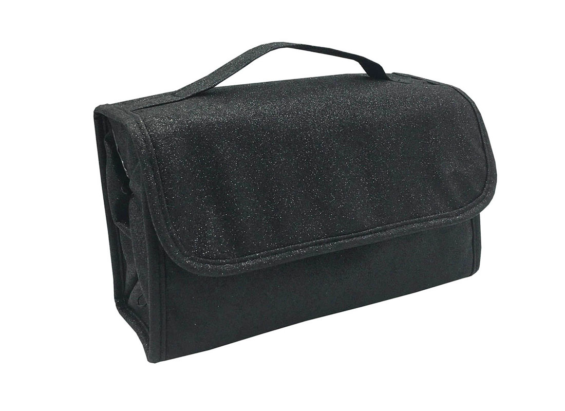 Rollup Makeup Bag in Black L Side