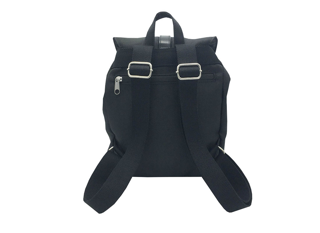 Mini Black Backpack with Soft Material Back