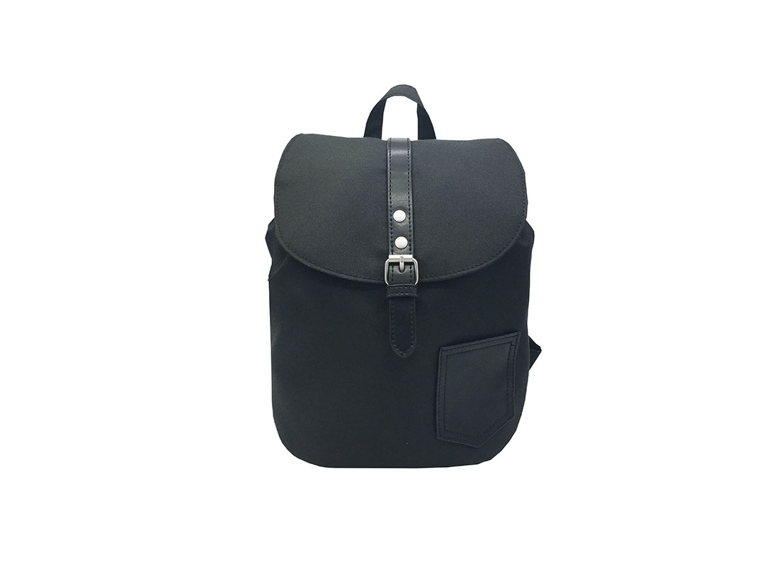 Mini Black Backpack with Soft Material Front