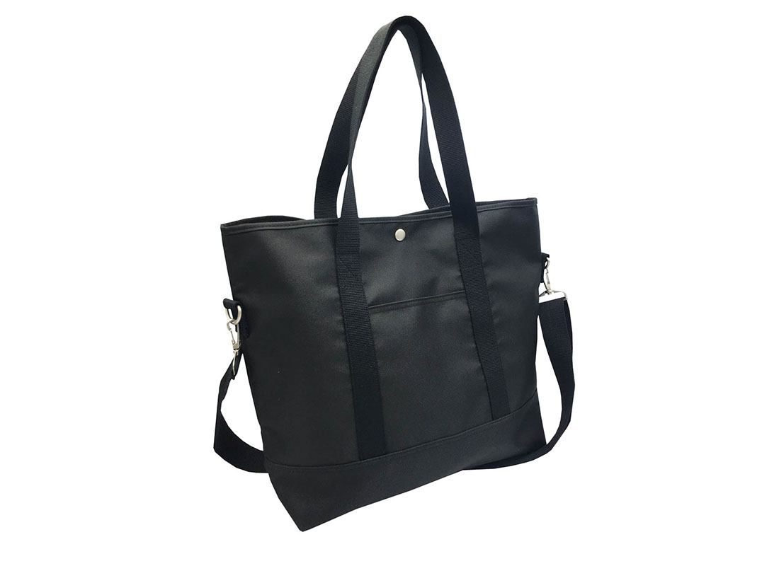 Long Shoulder Strap Tote Bag in Black L side
