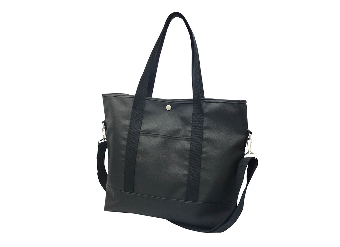 Long Shoulder Strap Tote Bag in Black R side