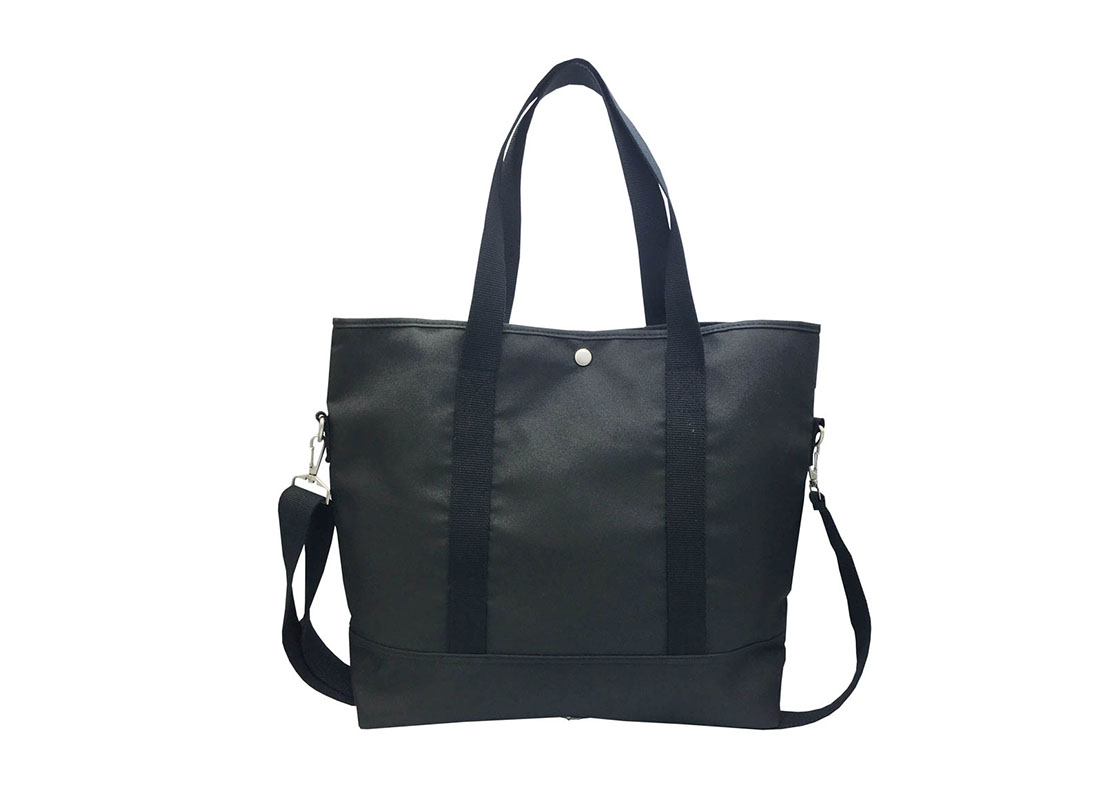 Long Shoulder Strap Tote Bag in Black Back