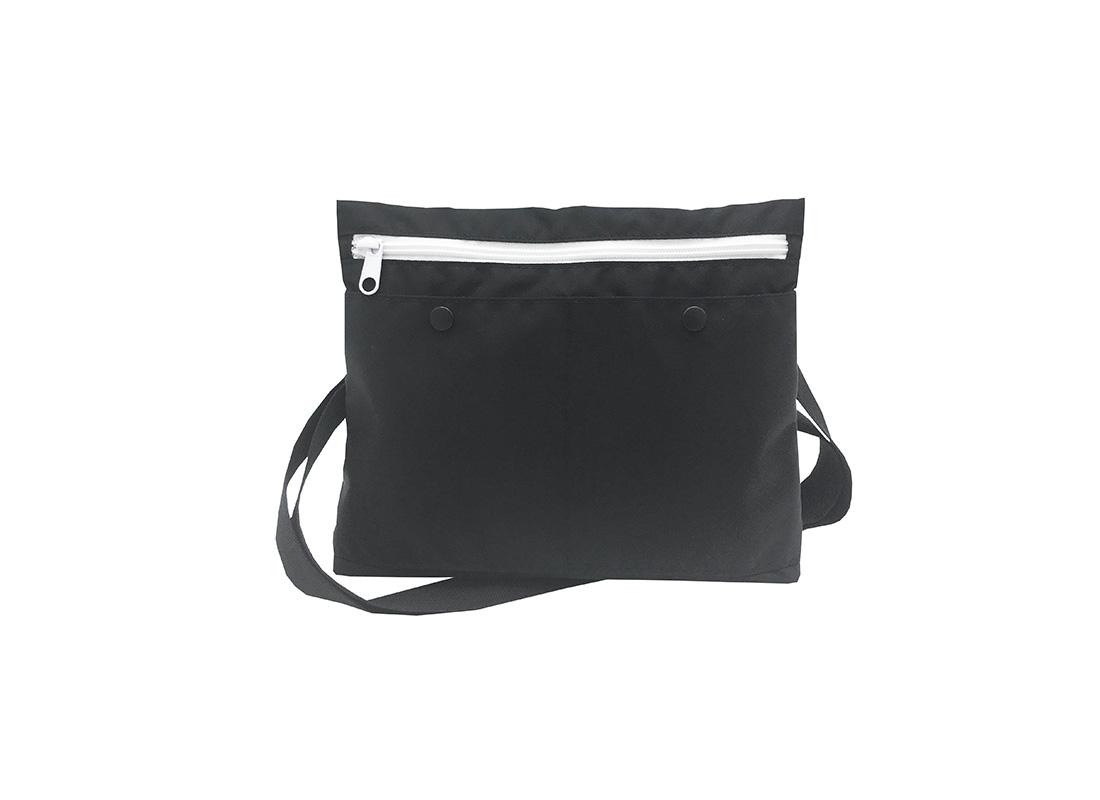 simple black shoulder bag front