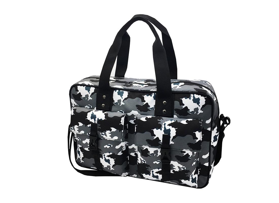 Camo Weekender Bag in Black White Grey R side