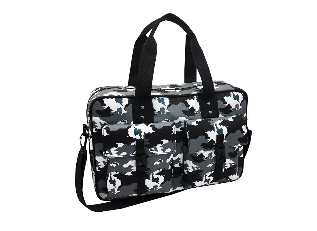 Camo Weekender Bag in Black White Grey L side